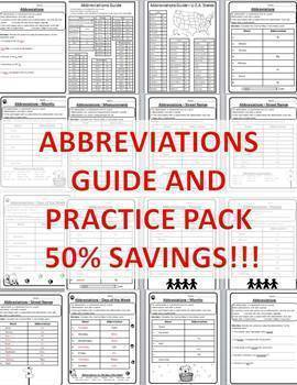 Abbreviations Guide & Practice Pack with U.S. State Abbreviations Practice