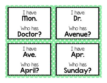 """Abbreviations """"I Have Who Has"""""""
