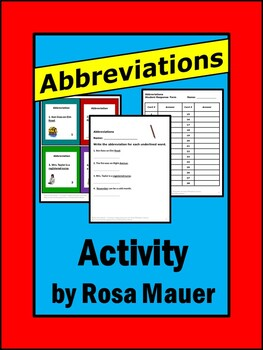 Abbreviations Task Cards, Printables, and Editables