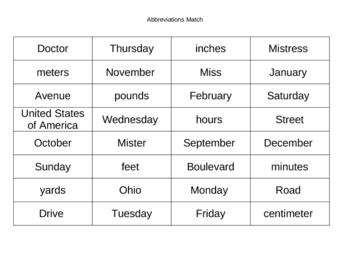 Abbreviations Match