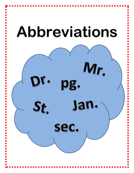 Abbreviations - Match Up and Cut n paste
