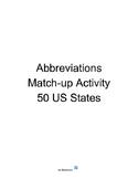 Abbreviations Match-up Activity - 50 US States