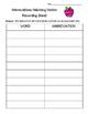 Abbreviations Matching Center and Recording Sheet