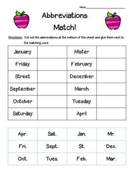 Abbreviations Matching Worksheet--cut and paste