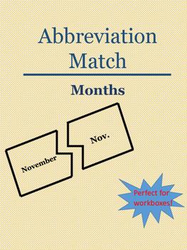 Months Abbreviations Puzzle Match