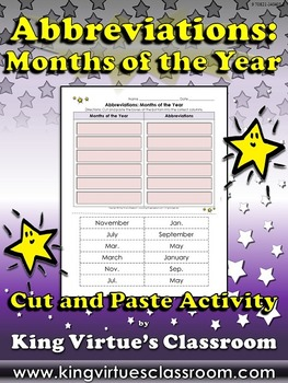 Abbreviations: Months of the Year Cut and Paste Activity #1 - King Virtue