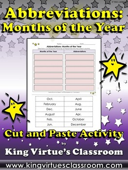 Abbreviations: Months of the Year Cut and Paste Activity #2 - King Virtue