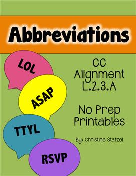 Abbreviations {No Prep Printables}