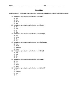 Abbreviations Practice