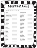 Abbreviations Practice Quiz Worksheet
