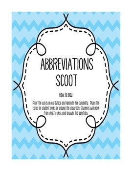 Abbreviations SCOOT Game
