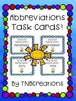 Abbreviations Task Cards