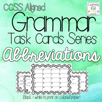 Abbreviations Task Cards - Roam the Room or Centers - Gram