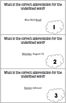 Abbreviations Task Cards and Recording Sheet