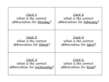 Abbreviations Task Cards for Journeys 3rd Grade