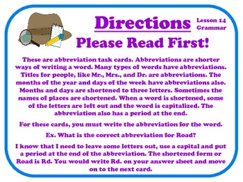 Abbreviations Task Cards for Journeys Grade 2