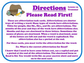 Abbreviations Task Cards for Journeys Grade 2