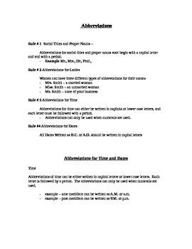 Abbreviations Teacher Notes