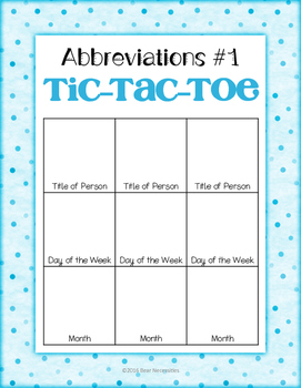 Abbreviations Tic-Tac-Toe FREEBIE