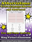 Abbreviations: Titles, Calendar Words, Addresses Cut and Paste Activity