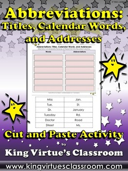 Abbreviations: Titles, Calendar Words, Addresses Cut and Paste Activity