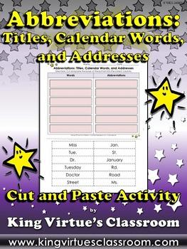 Abbreviations: Titles, Calendar Words, Addresses Cut and P