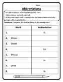 Abbreviations Worksheet Abbreviations Practice Abbreviations Activity Grammar #6