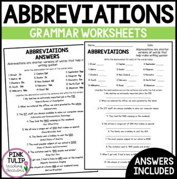 Abbreviations Worksheet - No Prep Printable