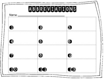 Abbreviations Write the Abbreviations Edition 2 Title Words/Address Words