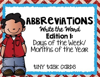Abbreviations Write the Word Edition 1 Days of Week/Months