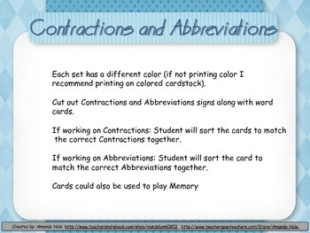Abbreviations and Contractions Sorting Center or Memory Game