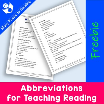 Abbreviations for Teaching Reading FREEBIE