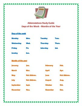 Abbreviations for the days of the week and months of the year study guide.