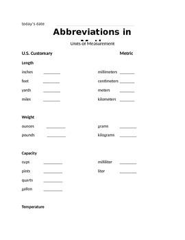 Abbreviations Unit