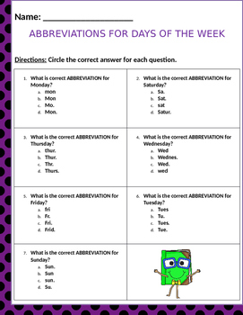 Abbreviations questions for the days of the week and months of the year.