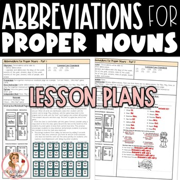 Abbreviations with Proper Nouns Activities and Interactive Notebook Pages