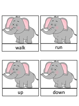 Abby Elephant Antonym Matching Game