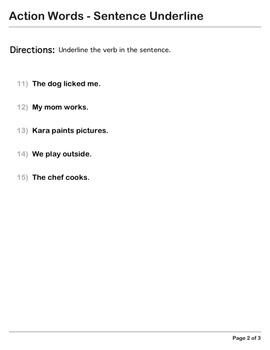 Abby Explorer Grammar - First Level: Action Words - Sentence Underline
