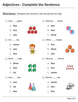 Abby Explorer Grammar - First Level: Adjectives - Complete the Sentence