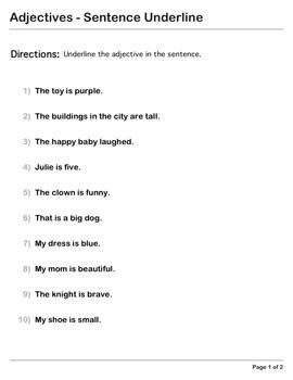 Abby Explorer Grammar - First Level: Adjectives - Sentence Underline