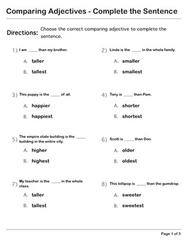Abby Explorer Grammar - First Level: Comparing Adjectives -Complete the Sentence