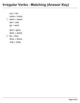 Abby Explorer Grammar - First Level: Irregular Verbs - Matching