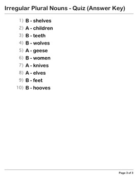 Abby Explorer Grammar - Second Level: Irregular Plural Nouns - Quiz
