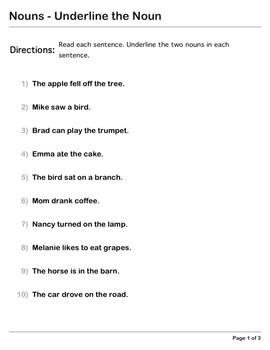 Abby Explorer Grammar - Second Level: Nouns - Underline the Noun