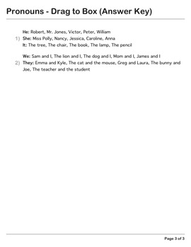 Abby Explorer Grammar - Second Level: Pronouns - Write in Box