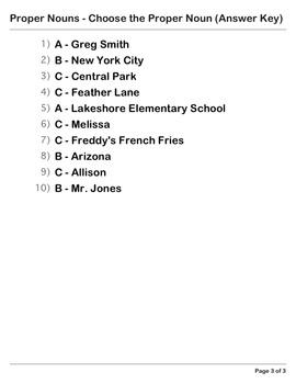 Abby Explorer Grammar - Second Level: Proper Nouns - Quiz