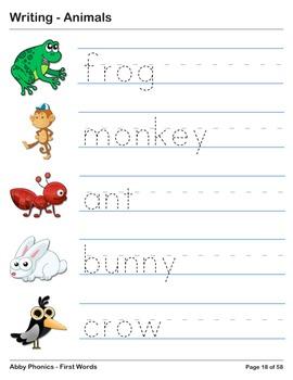 Abby Phonics - First Words - Animals Vocabulary Series