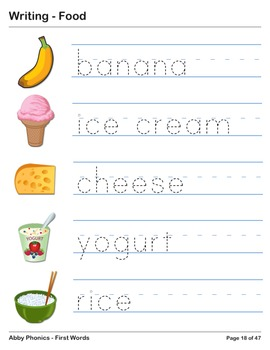 Abby Phonics - First Words - Food Vocabulary Series