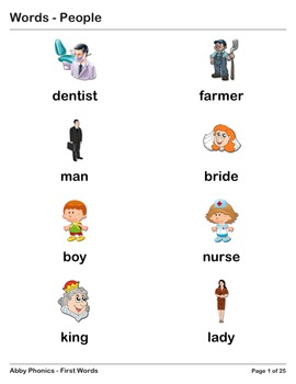 Abby Phonics - First Words - People Vocabulary Series