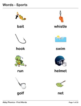 Abby Phonics - First Words - Sports Vocabulary Series